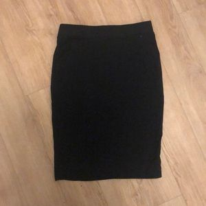 Black cotton feel fitted pencil skirt